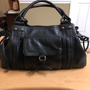 Antonio Melani Black Leather satchel Bag